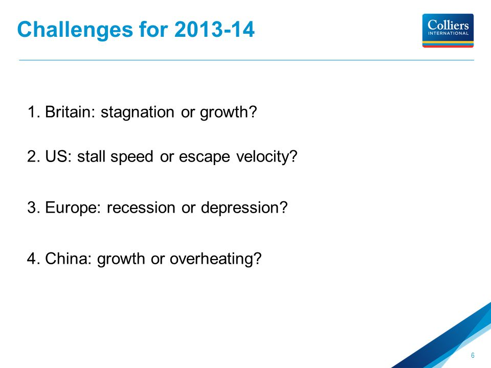 Challenges for 2013-14 1. Britain: stagnation or growth? 2. US: stall speed or escape velocity? 3. Europe: recession or depression? 4. China: growth o