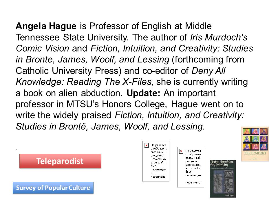 Angela Hague is Professor of English at Middle Tennessee State University. The author of Iris Murdoch's Comic Vision and Fiction, Intuition, and Creat