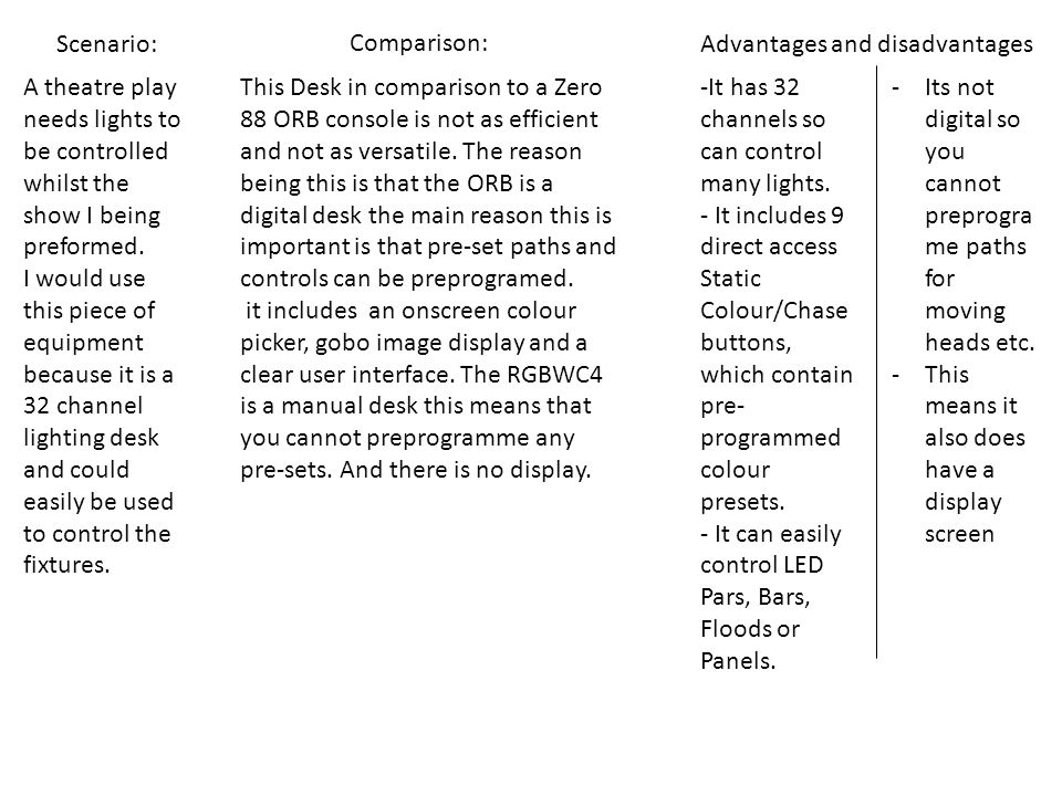 Scenario: Comparison: Advantages and disadvantages A theatre play needs lights to be controlled whilst the show I being preformed.