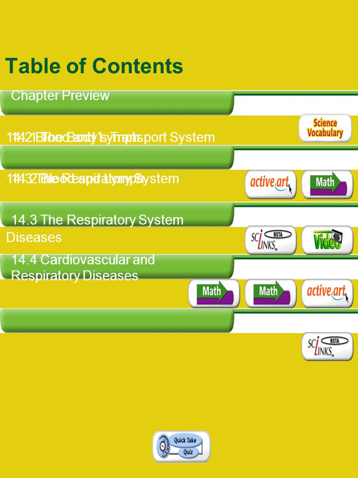 14.1 The Body's Transport System 14.2 Blood and Lymph 14.3 The Respiratory System 14.4 Cardiovascular and Respiratory Diseases Table of Contents Chapt