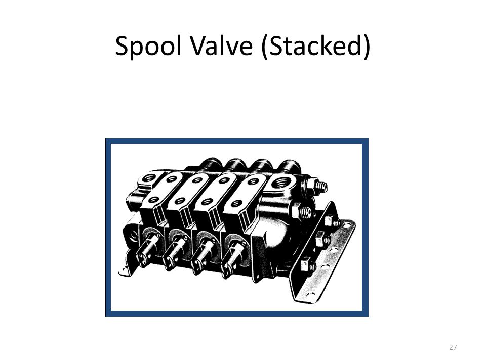 26 Spool Valves open center allows fluid to flow thru the center when in neutral and return to tank Closed center stops the flow of oil in neutral Use