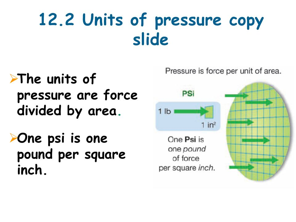 12.2 Units of pressure copy slide  The units of pressure are force divided by area.