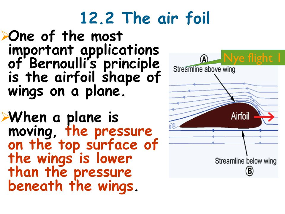 12.2 The air foil  One of the most important applications of Bernoulli's principle is the airfoil shape of wings on a plane.