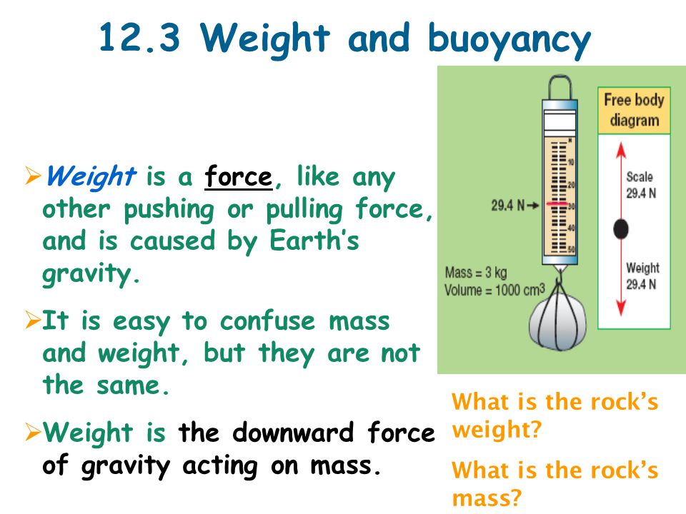 12.3 Weight and buoyancy  Weight is a force, like any other pushing or pulling force, and is caused by Earth's gravity.