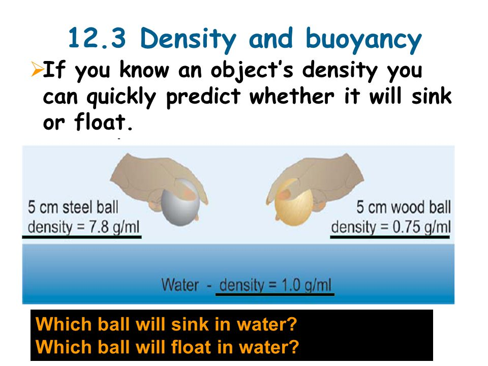 12.3 Density and buoyancy  If you know an object's density you can quickly predict whether it will sink or float.