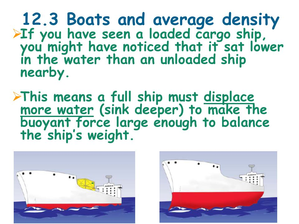 12.3 Boats and average density  If you have seen a loaded cargo ship, you might have noticed that it sat lower in the water than an unloaded ship nearby.