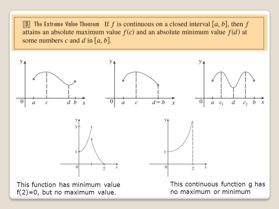 This function has minimum value f(2)=0, but no maximum value.