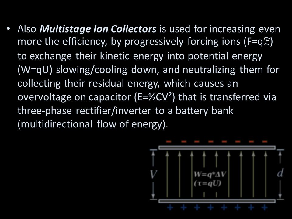 Also Multistage Ion Collectors is used for increasing even more the efficiency, by progressively forcing ions (F=q E ) to exchange their kinetic energy into potential energy (W=qU) slowing/cooling down, and neutralizing them for collecting their residual energy, which causes an overvoltage on capacitor (E=½CV²) that is transferred via three-phase rectifier/inverter to a battery bank (multidirectional flow of energy).