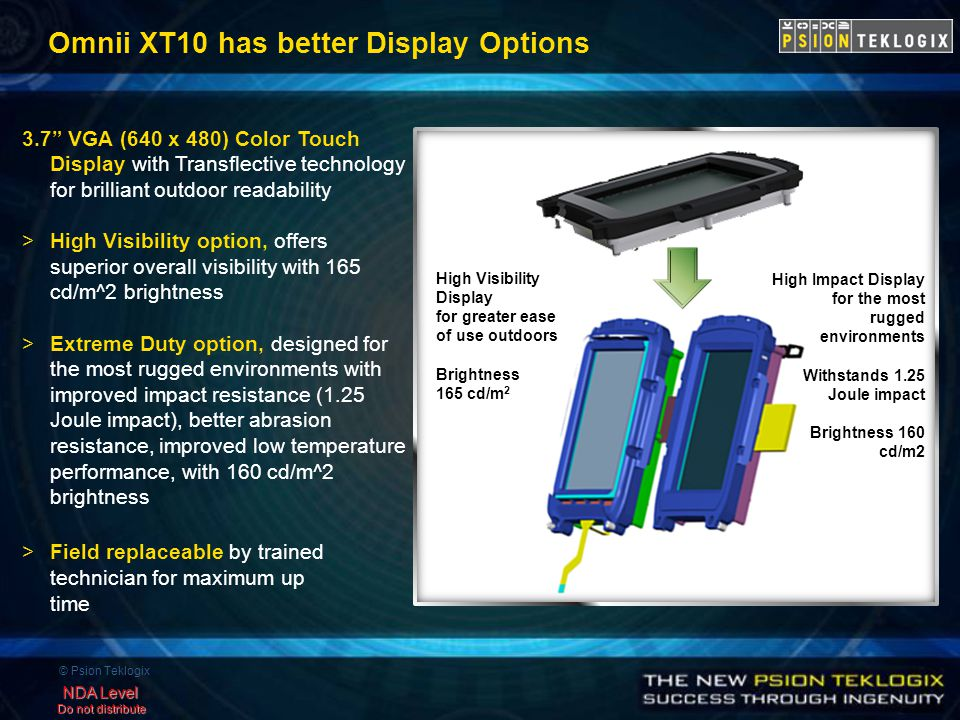 © Psion Teklogix NDA Level Do not distribute Omnii XT10 has better Display Options 3.7 VGA (640 x 480) Color Touch Display with Transflective technology for brilliant outdoor readability >High Visibility option, offers superior overall visibility with 165 cd/m^2 brightness >Extreme Duty option, designed for the most rugged environments with improved impact resistance (1.25 Joule impact), better abrasion resistance, improved low temperature performance, with 160 cd/m^2 brightness >Field replaceable by trained technician for maximum up time High Visibility Display for greater ease of use outdoors Brightness 165 cd/m 2 High Impact Display for the most rugged environments Withstands 1.25 Joule impact Brightness 160 cd/m2