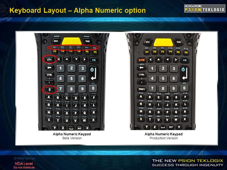 © Psion Teklogix NDA Level Do not distribute Keyboard Layout – Alpha Numeric option Alpha Numeric Keypad Production Version Alpha Numeric Keypad Beta Version