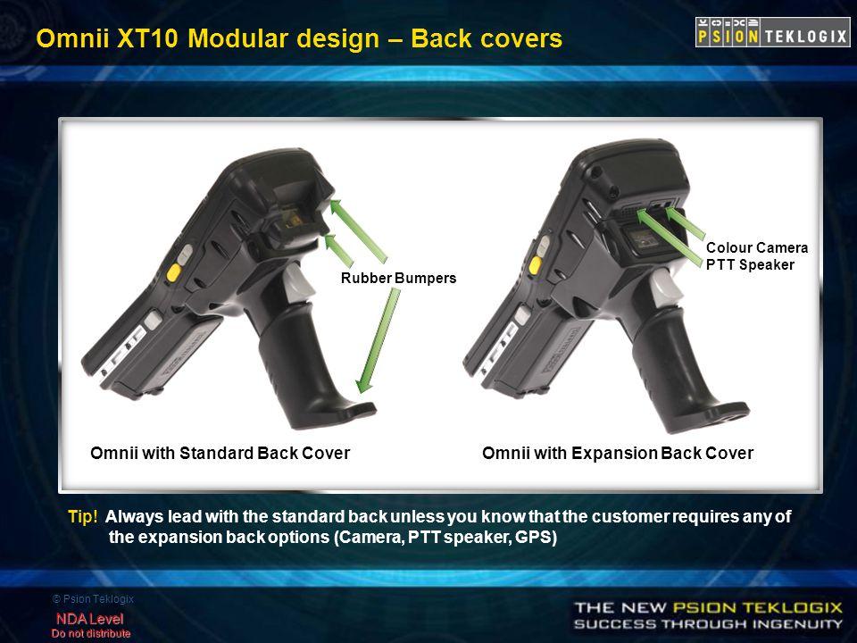 © Psion Teklogix NDA Level Do not distribute Omnii XT10 Modular design – Back covers Omnii with Standard Back CoverOmnii with Expansion Back Cover Rubber Bumpers Colour Camera PTT Speaker Tip.