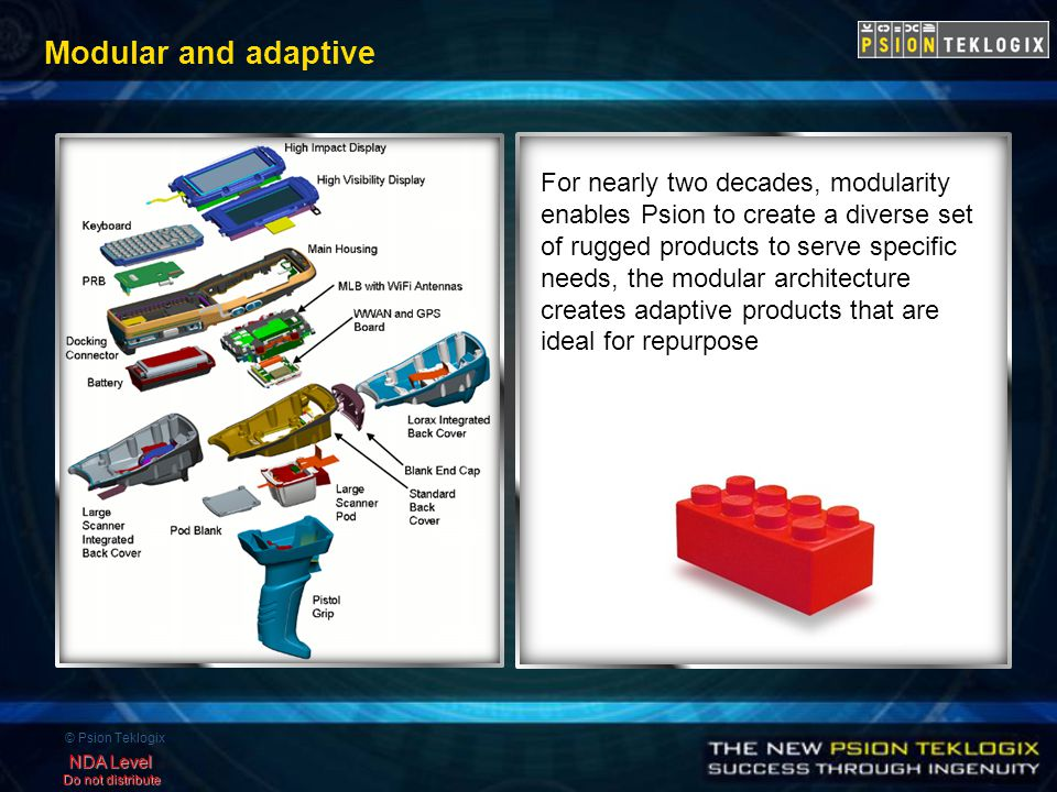 © Psion Teklogix NDA Level Do not distribute Modular and adaptive For nearly two decades, modularity enables Psion to create a diverse set of rugged products to serve specific needs, the modular architecture creates adaptive products that are ideal for repurpose