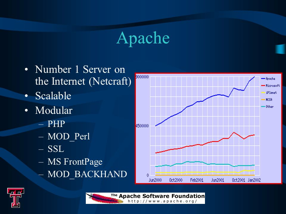 Apache Number 1 Server on the Internet (Netcraft) Scalable Modular –PHP –MOD_Perl –SSL –MS FrontPage –MOD_BACKHAND