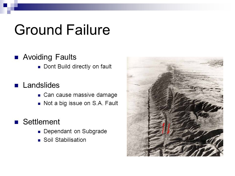 Ground Failure Avoiding Faults Dont Build directly on fault Landslides Can cause massive damage Not a big issue on S.A.