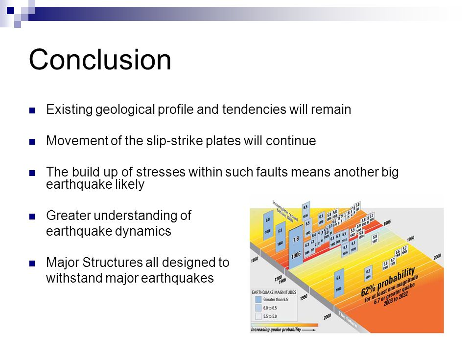 Conclusion Existing geological profile and tendencies will remain Movement of the slip-strike plates will continue The build up of stresses within such faults means another big earthquake likely Greater understanding of earthquake dynamics Major Structures all designed to withstand major earthquakes