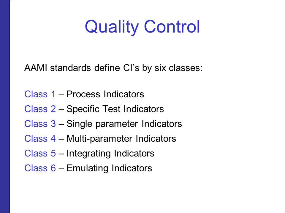 Quality Control AAMI standards define CI's by six classes: Class 1 – Process Indicators Class 2 – Specific Test Indicators Class 3 – Single parameter