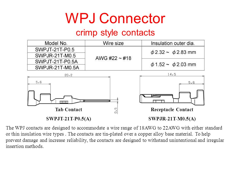 WPJ Connector waterproof crimp style housings Molded in glass-filled PBT rated 94V-0 material, the polarized WPJ series housings incorporate a secure inner locking device to prevent accidental disconnection due to routing of wires or vibration and are offered in 3 different keying patterns.
