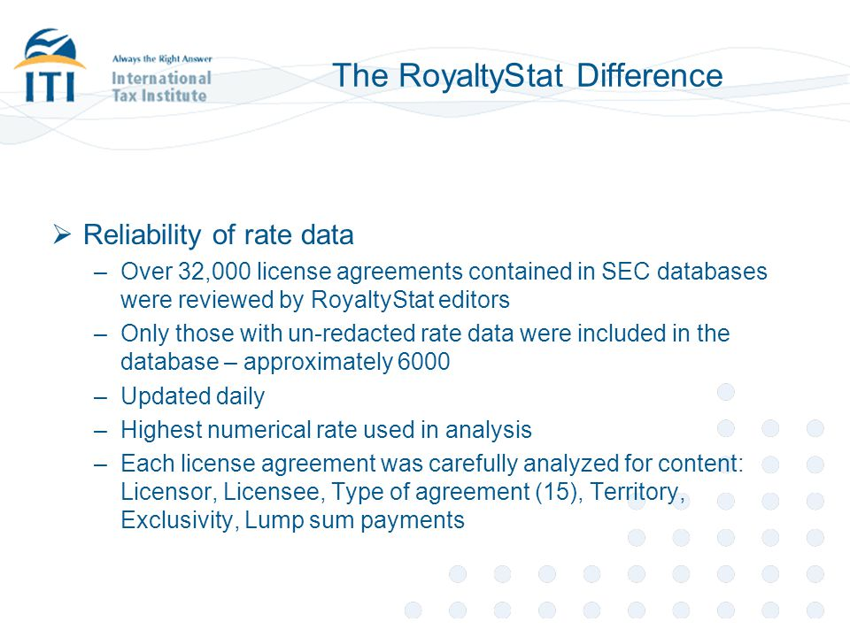 The RoyaltyStat Difference  Reliability of rate data –Over 32,000 license agreements contained in SEC databases were reviewed by RoyaltyStat editors