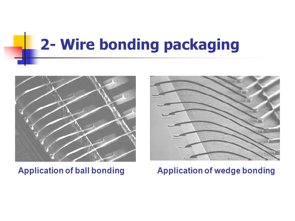 2- Wire bonding packaging Application of ball bondingApplication of wedge bonding