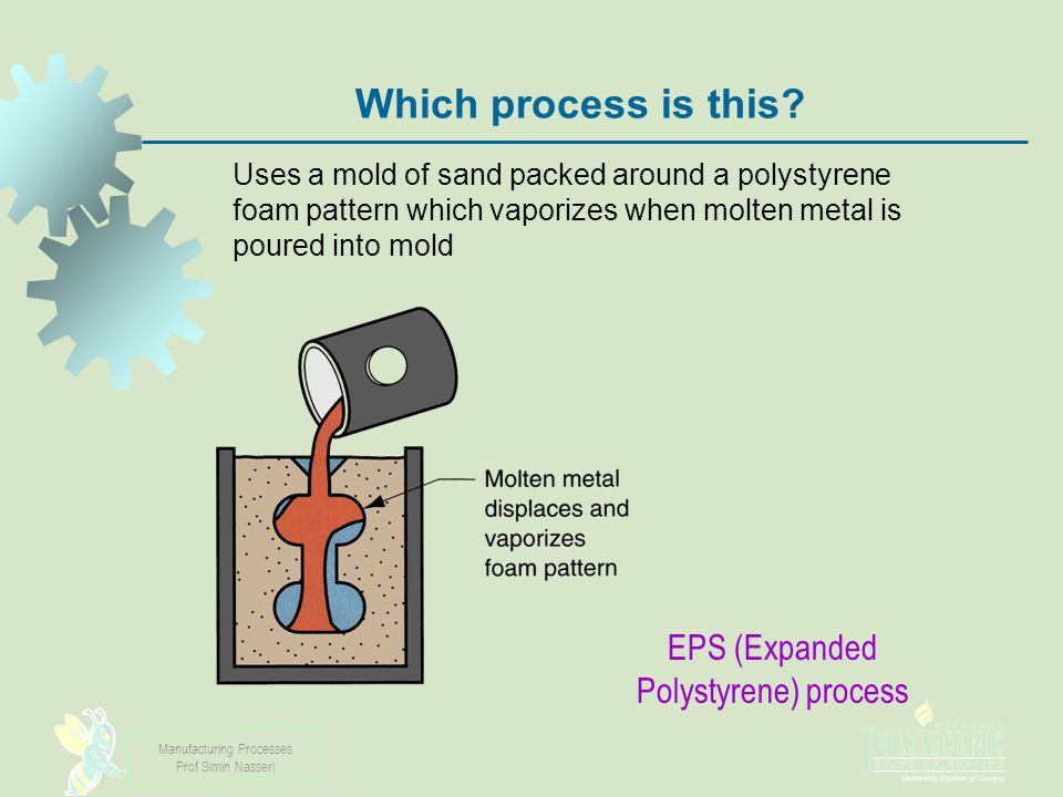 Manufacturing Processes Prof Simin Nasseri Which process is this? Uses a mold of sand packed around a polystyrene foam pattern which vaporizes when mo