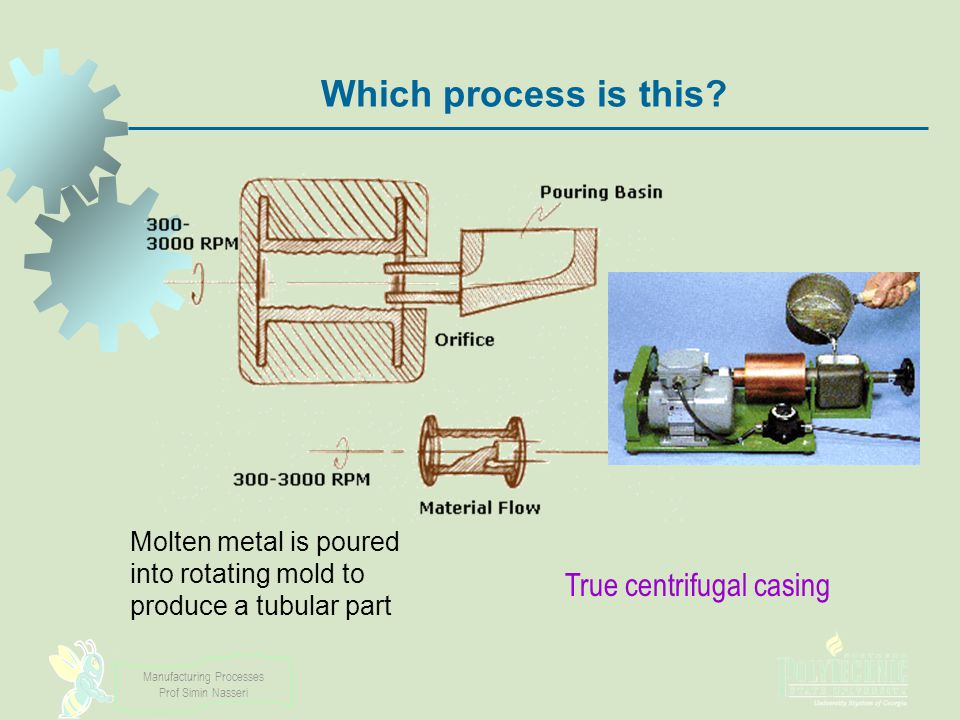 Manufacturing Processes Prof Simin Nasseri Which process is this? Molten metal is poured into rotating mold to produce a tubular part True centrifugal