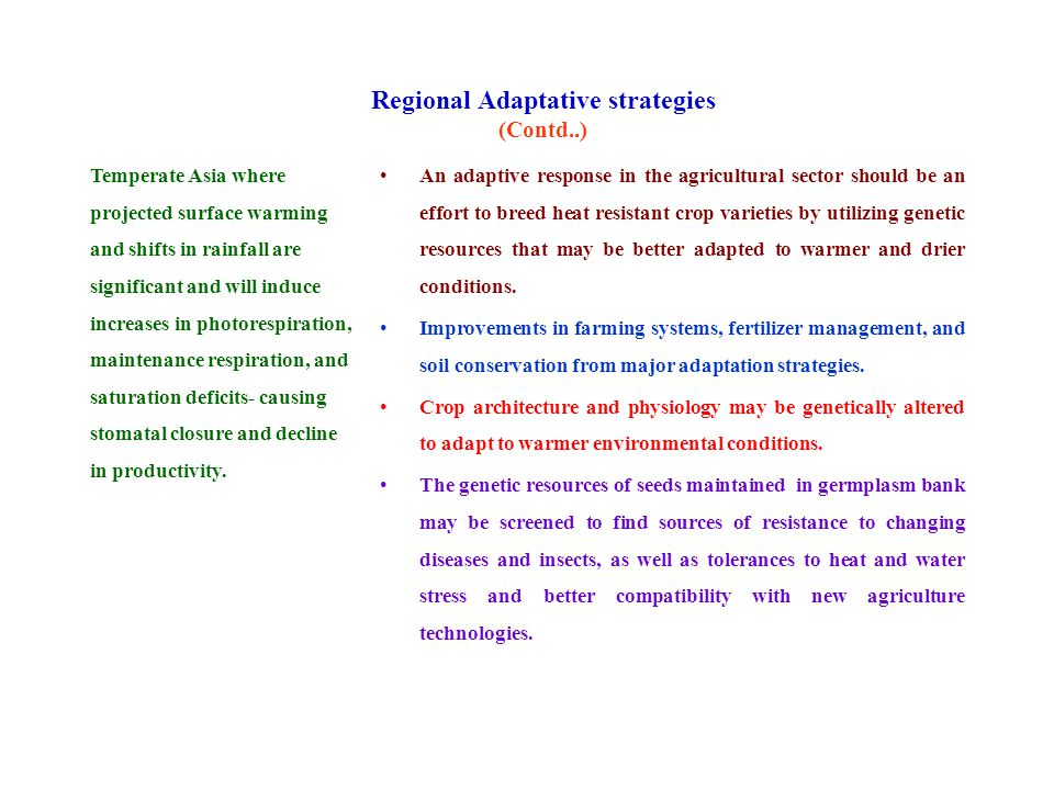 Regional Adaptative strategies (Contd..) Temperate Asia where projected surface warming and shifts in rainfall are significant and will induce increases in photorespiration, maintenance respiration, and saturation deficits- causing stomatal closure and decline in productivity.