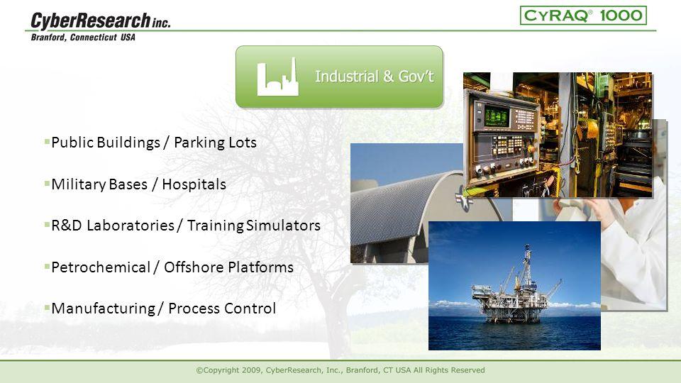  Public Buildings / Parking Lots  R&D Laboratories / Training Simulators  Petrochemical / Offshore Platforms  Manufacturing / Process Control  Military Bases / Hospitals