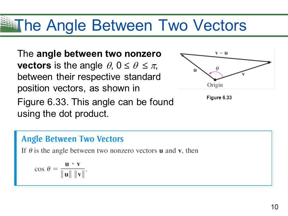 10 The Angle Between Two Vectors The angle between two nonzero vectors is the angle , 0    , between their respective standard position vectors, as shown in Figure 6.33.
