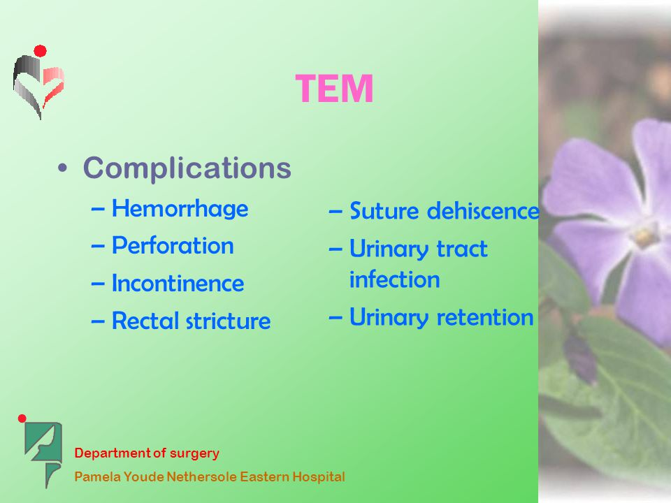 Department of surgery Pamela Youde Nethersole Eastern Hospital TEM Complications –Hemorrhage –Perforation –Incontinence –Rectal stricture – Suture dehiscence – Urinary tract infection – Urinary retention