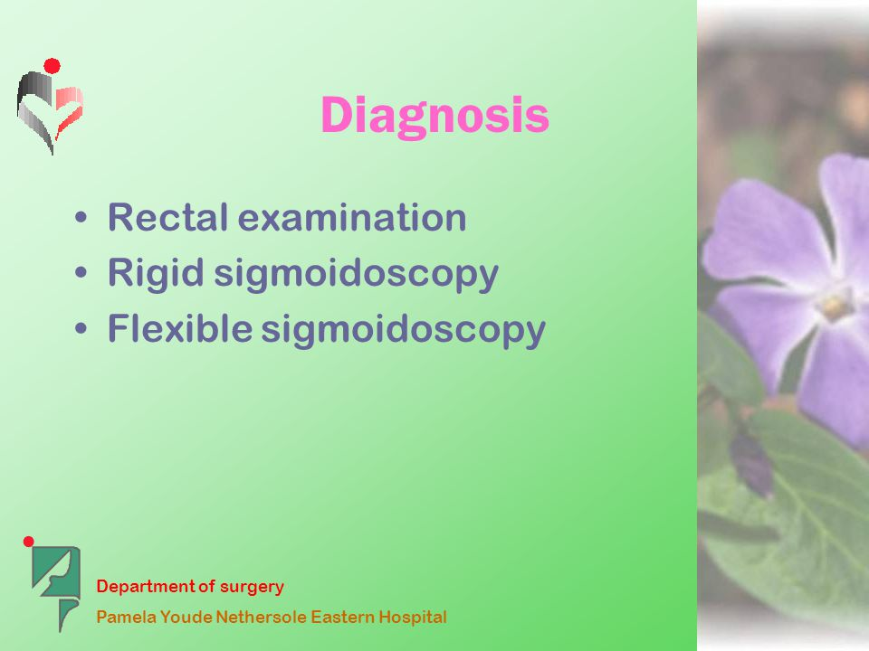 Department of surgery Pamela Youde Nethersole Eastern Hospital Diagnosis Rigid sigmoidoscopy –Villous adenoma 97% within 30cm from anal verge –Problems View obscured by blood or mucus Sub-optimal insufflation
