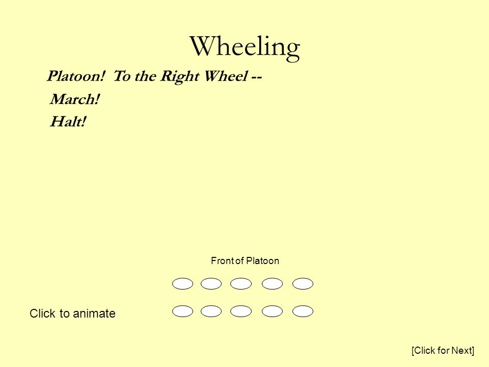 Wheeling Platoon. To the Right Wheel -- March. Halt.