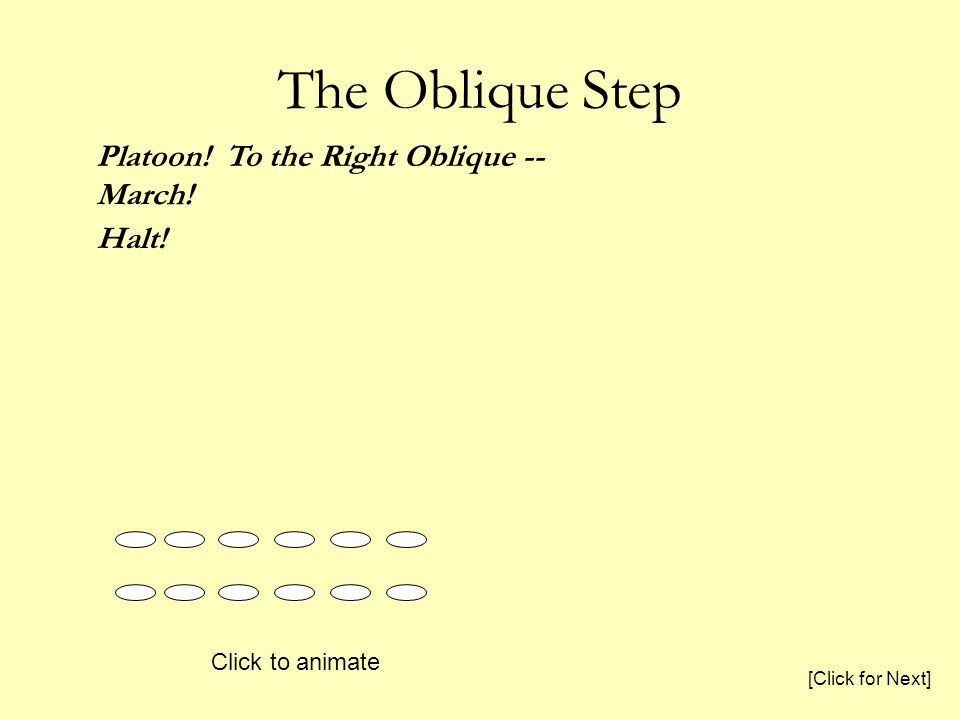 The Oblique Step Platoon! To the Right Oblique -- March! Halt! Click to animate [Click for Next]