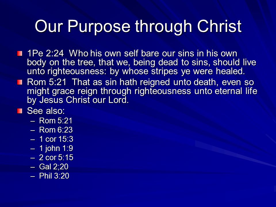 Our Purpose through Christ 1Pe 2:24 Who his own self bare our sins in his own body on the tree, that we, being dead to sins, should live unto righteousness: by whose stripes ye were healed.