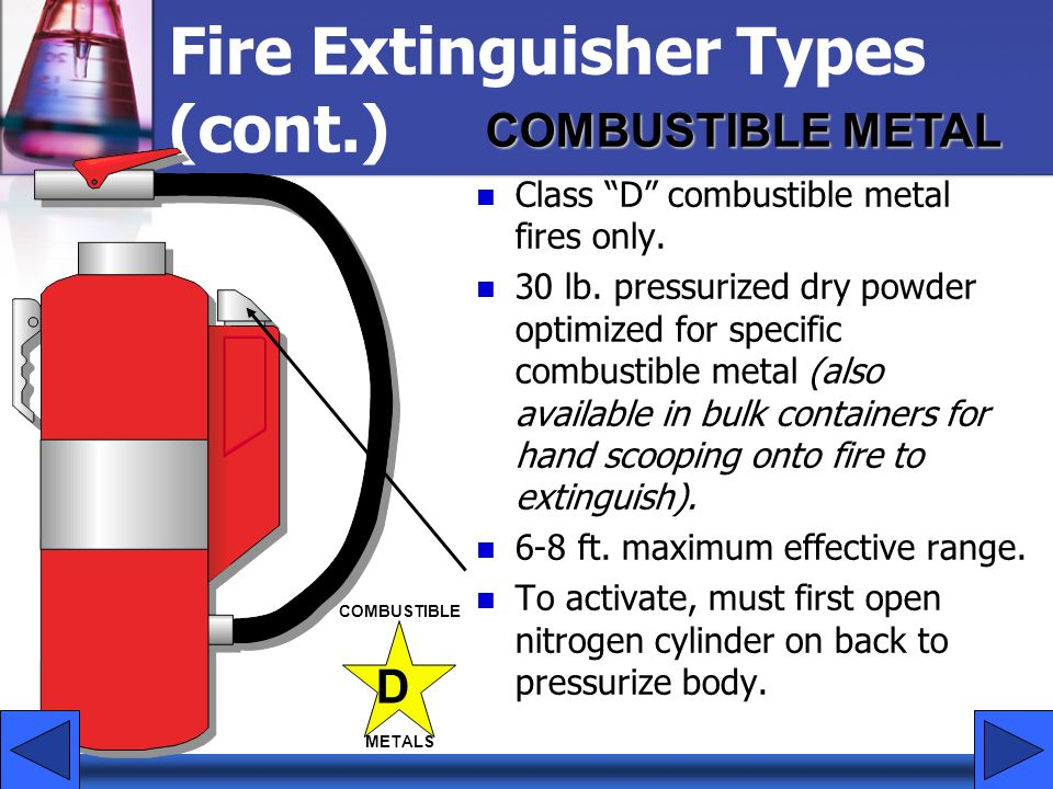 "Fire Extinguisher Types (cont.) Class ""D"" combustible metal fires only. 30 lb. pressurized dry powder optimized for specific combustible metal (also a"