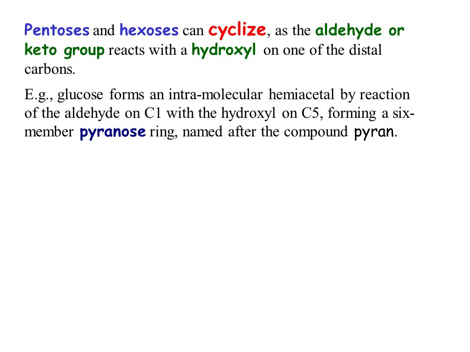 Pentoses and hexoses can cyclize, as the aldehyde or keto group reacts with a hydroxyl on one of the distal carbons. E.g., glucose forms an intra-mole