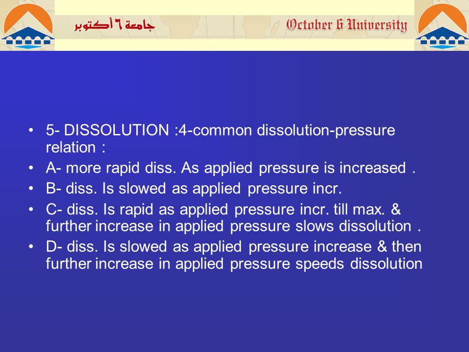 5- DISSOLUTION :4-common dissolution-pressure relation : A- more rapid diss.