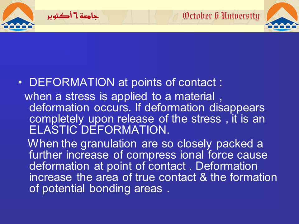 DEFORMATION at points of contact : when a stress is applied to a material, deformation occurs.