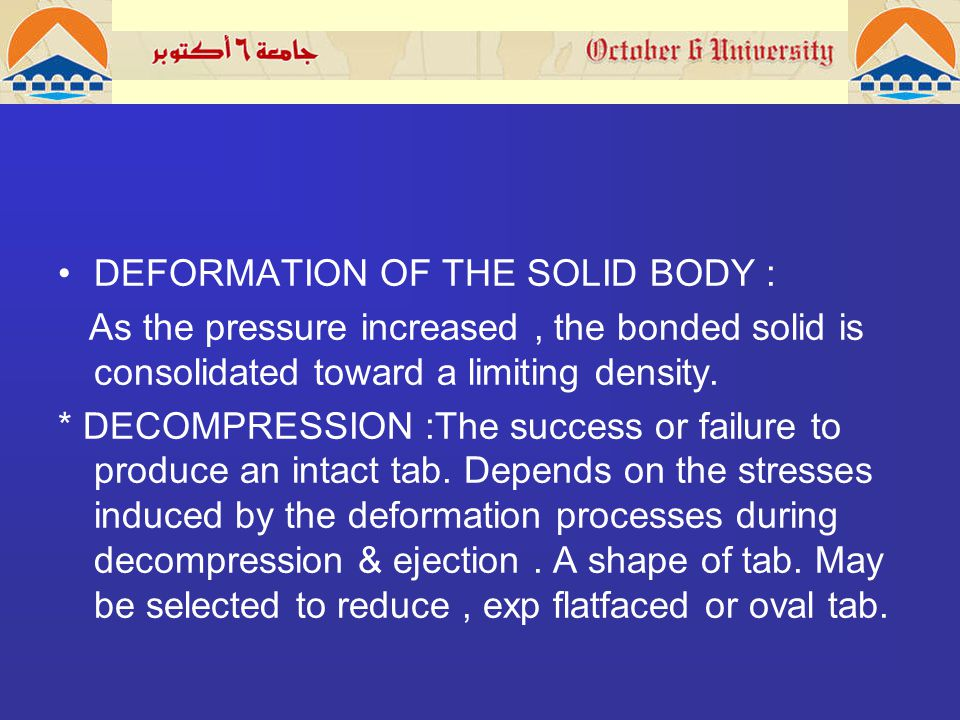 DEFORMATION OF THE SOLID BODY : As the pressure increased, the bonded solid is consolidated toward a limiting density.