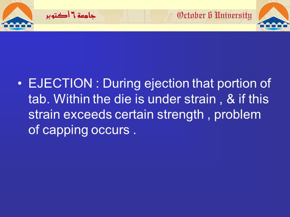 EJECTION : During ejection that portion of tab.