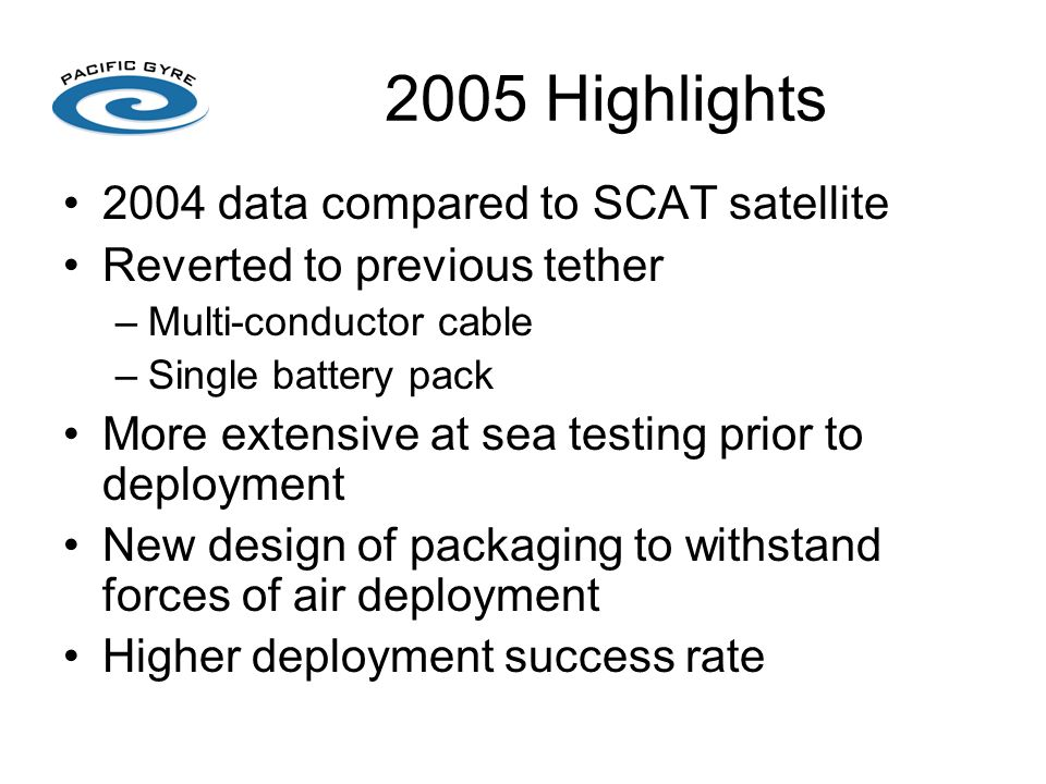 2005 Highlights 2004 data compared to SCAT satellite Reverted to previous tether –Multi-conductor cable –Single battery pack More extensive at sea testing prior to deployment New design of packaging to withstand forces of air deployment Higher deployment success rate