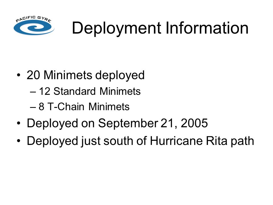 Deployment Information 20 Minimets deployed –12 Standard Minimets –8 T-Chain Minimets Deployed on September 21, 2005 Deployed just south of Hurricane Rita path