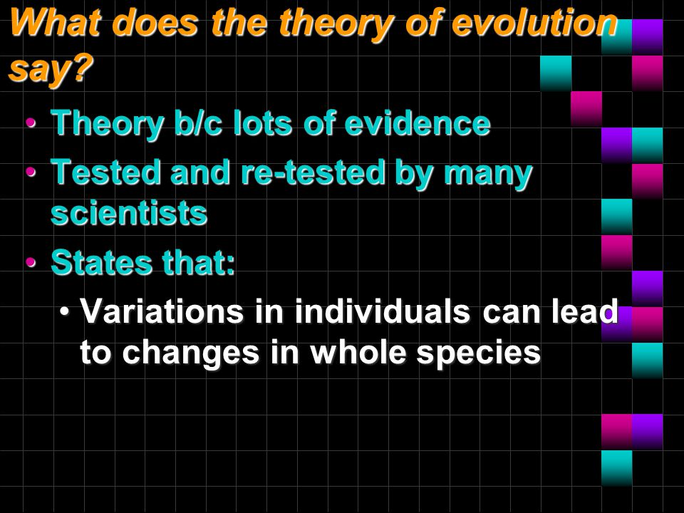 What does the theory of evolution say? Theory b/c lots of evidenceTheory b/c lots of evidence Tested and re-tested by many scientistsTested and re-tes
