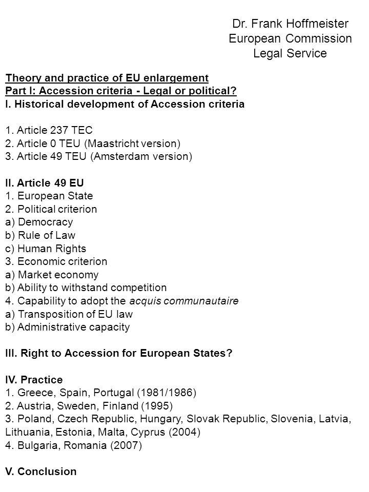 Theory and practice of EU enlargement Part II: Accession procedure - David vs.