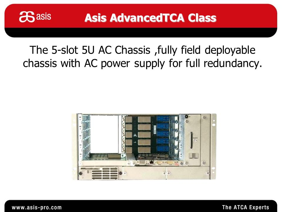 Asis AdvancedTCA Class The chassis consist of the following parts : 1.Backplane - 1.Backplane - PCB that connect all the chassis components together.