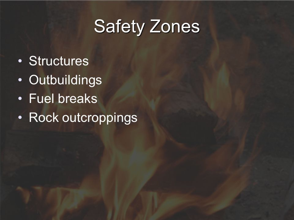 Safety Zones Structures Outbuildings Fuel breaks Rock outcroppings