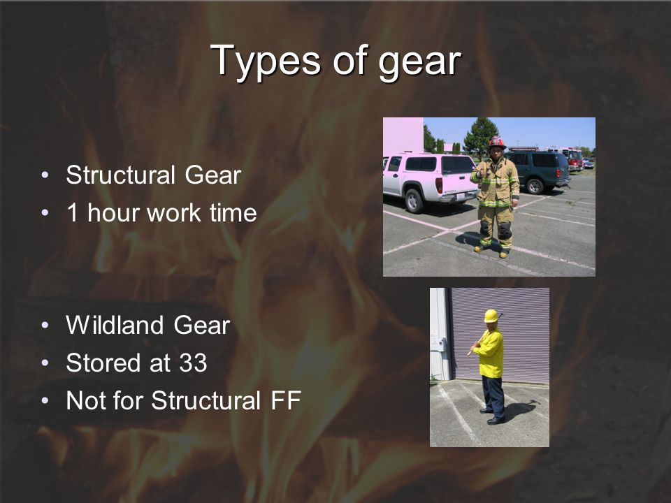 Types of gear Structural Gear 1 hour work time Wildland Gear Stored at 33 Not for Structural FF