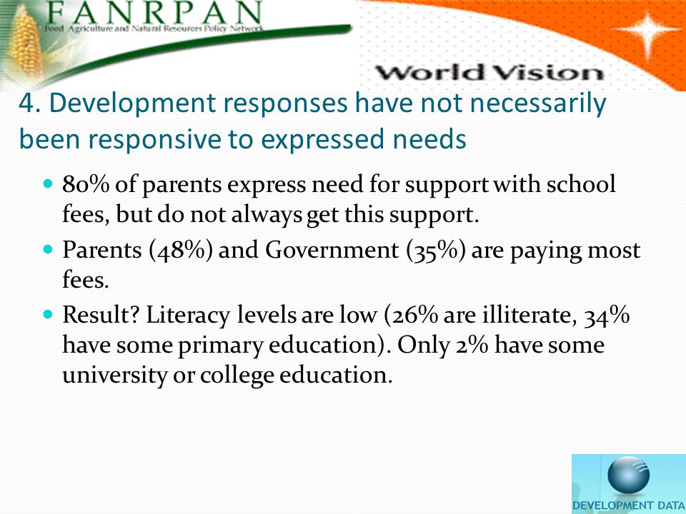 4. Development responses have not necessarily been responsive to expressed needs 80% of parents express need for support with school fees, but do not