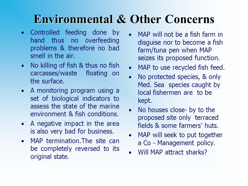 Environmental & Other Concerns Controlled feeding done by hand thus no overfeeding problems & therefore no bad smell in the air.