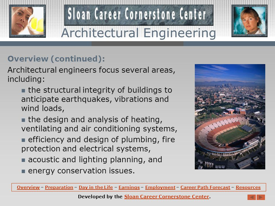 Employment (continued): Architectural Engineers use their expertise in engineering, mathematics, and physics to make sure that structures are sound and functional.