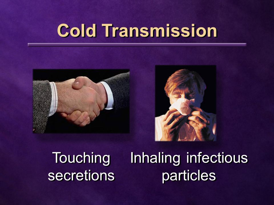 Cold Transmission Touching secretions Inhaling infectious particles Inhaling infectious particles